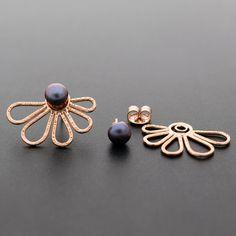 Rose gold ear jacket earrings gift for women double by emmanuelaGR