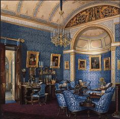 Interiors of the Winter Palace. The Boudoir of Grand Princess Maria Alexandrovna - Edward Petrovich Hau - Drawings, Prints and Painting from Hermitage Museum