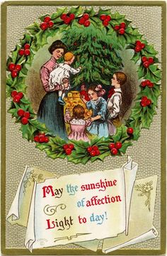 A Victorian mother and her four children gathered around a decorated  Christmas tree. They are cd9dd0556d7