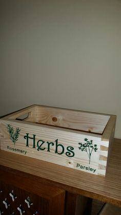Engraved herb box.faywoodcrafts Herb Box, Herbs, Kitchen, Cooking, Kitchens, Herb, Cuisine, Cucina, Medicinal Plants