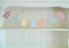Beach Hut Wooden Bunting, Hand Painted in Pastel Summer Colours, Beach Themed Wedding Decor, Coastal Home Accent Blue Orange, Red Green, Yellow, Summer Stripes, Deck Chairs, Coastal Homes, Summer Colors, Beach Themes, Home Accents