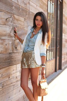 VIVALUXURY - FASHION BLOG BY ANNABELLE FLEUR: CALIFORNIA GOLD RUSH (Gold Sequin Shorts - Lulus.com, Blazer - Zara, Denim Shirt - Thrifted, Bag - Asos.com, Sandals - Giuseppe Zanotti, Wrapped Snake Bracelet - LastMinuteAccesso..., Necklace - ShopBelina.com, Bracelets - Planet Blue October 3, 2011