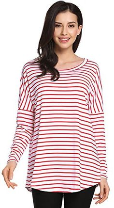 POGTMM Womens Loose Round Neck Long Sleeve Basic Shirts Striped Tunic Top Tshirt Blouse XXL RedWhite ** ** AMAZON BEST BUY ** #WinterLeggings Tunic Shirt, Tunic Tops, Blouse, T Shirt, Winter Leggings, Cool Things To Buy, Long Sleeve, Amazon, Women