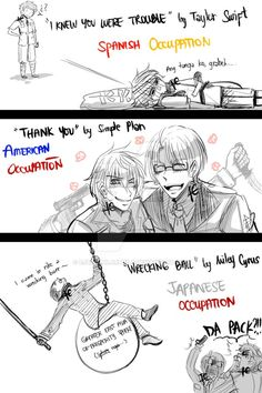 """Hetalia - Spain, Philippines, America and Japan - Lol, """"ang tanga ko grabe"""" this line made me laugh for hours! However, dang America betrayed philippines too y'know so why do you chose the song 'thank you' XD Lo siento!"""