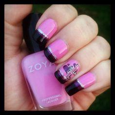 Heart nail art featuring Zoya Nail Polish in Shelby and Zoya Carly