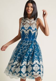 Chi Chi London Reign or Shine Lace Dress - Once you don this fit-and-flare dress from Chi Chi London, you'll vow to wear it to every luxe event in your future, no matter what! You look positively royal in its illusion neckline, rich, teal-tinged blue hue, gold-flecked embroidery, scalloped trim, and voluminous skirt. Now, time to take your seat on the style throne!