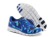 Nike Free 5.0 V4 Camo Blå Lysblå Herre Sko