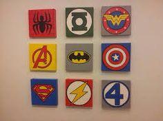 Cute for boys superhero room. I could do these on or any square canvas. Superhero Room, Superhero Canvas, Superhero Ideas, Kids Decor, Kids Bedroom, Bedroom Ideas, Playroom, Nursery, Crafty