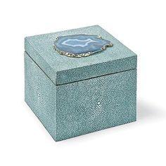 Square Shagreen Box in Grey