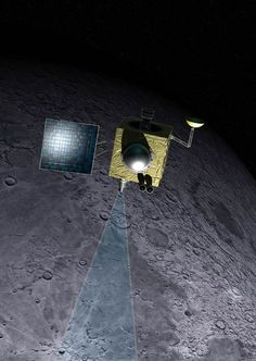 An artist's illustration of India's Chandrayaan-1 lunar orbiter, which operated from October 2008 through August 2009.