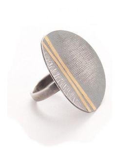 Oxidised fabric print ring -- Susan Cross