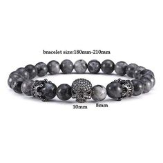 Mens Skull bracelet with semi precious natural black labradorite stones. Each grey iridescent 8mm stone is different which makes every piece completely unique. Get this mens skull bracelet today at 50% discount.