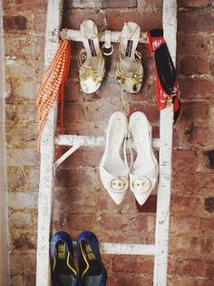 Instead of throwing out that spare ladder, turn it into a shoe rack. Your collection will be nice and tidy, and your shoes will be easily accessible when you want to wear them. Look for a vintage ladder or two at your favorite weekend flea market, or on Etsy. You can turn your shoe ladder into a work of art by adding in some colorful scarves and necklaces.
