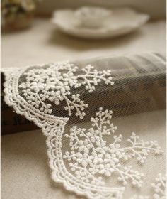 Retro White Lace Trim Fabric with Embroidered Florals Snowflakes Bridal Veil Lace Scollap Lace 2 yards