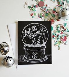 Let It Snow Globe Holiday Chalkboard Cards – Set of 8