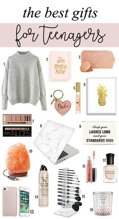 The cutest gifts for teenagers. She will love these cool unique and fun gifts for Christmas! List includes salt lamp marble laptop case dry shampoo makeup brush organizer candles and more! - April 21 2019 at Cool Gifts For Teens, Christmas Gifts For Teen Girls, Tween Girl Gifts, Birthday Gifts For Teens, Diy Birthday, Gifts For Teenage Girls, Christmas List Ideas, 12 Year Old Birthday Party Ideas, Stocking Stuffers For Teenagers