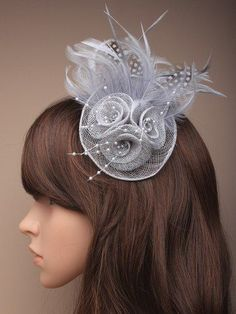 9b01cea2 Feather Fascinator with Hessian rosette on a clip with brooch pin in Grey,  Cream Silver