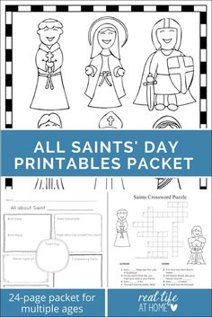 All Saints' Day Printables Packet featuring puzzles, coloring pages, a mini book, and more all about saints Catholic Saints For Kids, Catholic Schools Week, Catholic Religious Education, Catholic Homeschooling, Teaching Religion, Religion Catolica, All Souls Day, All Saints Day, Preschool Worksheets