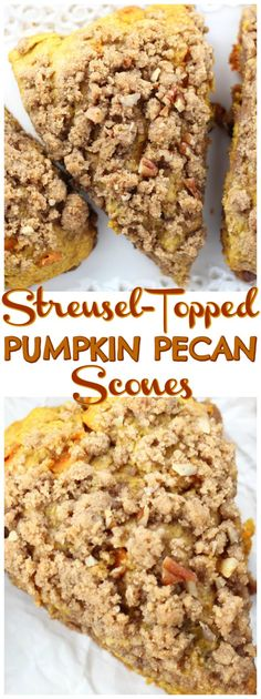 Pumpkin Pecan Scones with Brown Sugar Streusel recipe image thegoldlininggirl.com pin 1