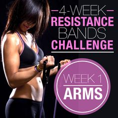 Resistance Bands Challenge: Week 1 - Arms – 1. Bicep Curl  2. Wide Curl  3. Half Curl  4. Right Hand Curl, Left Hold  5. Tricep Kickbacks  6. Tricep Extension  7. Single Arm Tricep Extension  8. Shoulder Press  9. Left Arm Press, Right Hold  10. Uppercuts  – Each for 1 minute