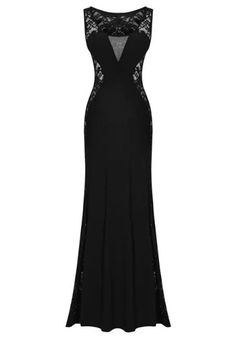 Black Plain Hollow-out Sleeveless Lace Spliced Mermaid Slim Sexy Party Maxi Dress