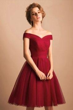 rotes Hochzeitskleid Elegant A-Linie Off Schulter Rot Knielang Kleider aus Tüll