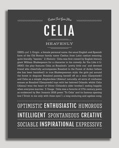 Celia | Classic Name Print by Name Stories Girl Names, Baby Names, Lincoln, Customer Stories, Classic Names, Descriptive Words, Name Art, Character Names, Character Ideas