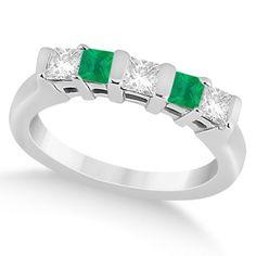 14k Gold 1/2ct 5 Stone Diamond & Green Emerald Princess Ring (G-H, SI1-SI2) (14k Rose Gold - Size 4.5), Women's