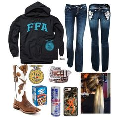 A fashion look from January 2018 featuring bootcut jeans, cowgirl boots and nocona belts. Browse and shop related looks. Cute Cowgirl Outfits, Country Style Outfits, Southern Outfits, Rodeo Outfits, Country Girl Style, Country Fashion, Western Outfits, Western Wear, Fall Outfits