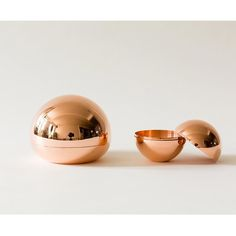 Copper Hemisphere Containers by Fort Standard These hand spun solid copper containers create sculptural hidden storage spots perfect for your coffee table, de Hiding Spots, Pick And Mix, China Art, Burke Decor, Hidden Storage, Hand Spinning, Decorative Objects, How To Memorize Things, Things To Sell
