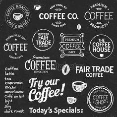 Koffie schoolbord tekst en symbolen — Stockillustratie #10124739
