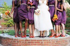 Purple and Orange Wedding - Bride and Bridesmaids Shoes