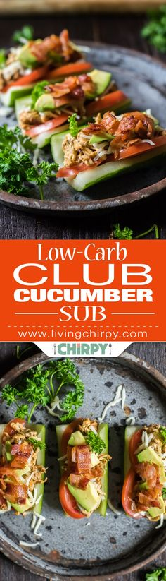 Low-Carb Club Cucumber Sub with spicy shredded chicken, bacon, tomato, mozzarella and avocado. Perfect low-carb lunch.