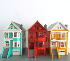 Miniature Row Houses - Colorful Painted Lady San Francisco Houses - Victorian Model House