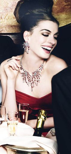 Anne Hathaway US Vogue ....some of my luxurious desires fancy dining with my life partner, fancy sparkling diamond jewelry and nice gown and nicely done hair/makeup/nails