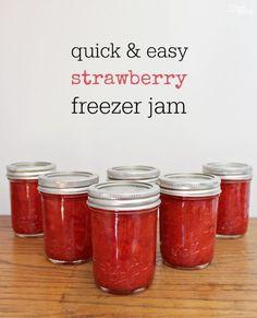 Easy homemade strawberry freezer jam! For low sugar do 2 cups ripe strawberries, 3 tbsp pectin, 1/2 cup orange juice, 1 1/4 cups sugar