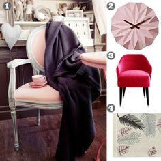 1. Koc bawełniany Granatowy 2. Zegar Origami 3. Fotel Emi dostępny w wielu kolorach 4. Dywan bawełniany Tropical Pink http://bogatewnetrza.pl/