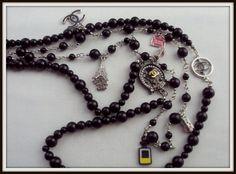 BLACK Devil Wears Pearls Handmade necklace by ChiCbySB by ChiCbySB