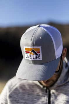 6750c305a57 Retro Life Grey And White Trucker Hat