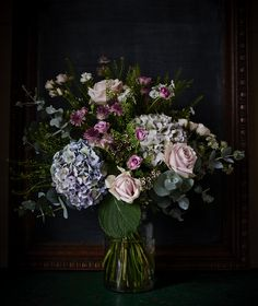 Hydrangea and Roses in a small pickle jar