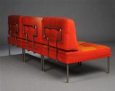Poul Cadovius; Steel Frame'Revolt' Sectional Sofa for France & Son, 1960s, red upholstery