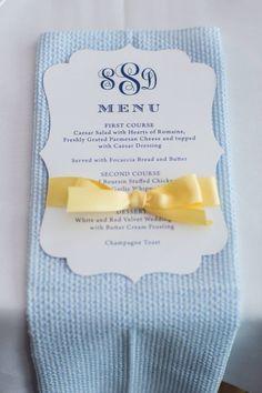 Monogram die cut wedding menu card with satin ribbon - preppy monogram - seersucker wedding paper Designed by Lemonseed and co