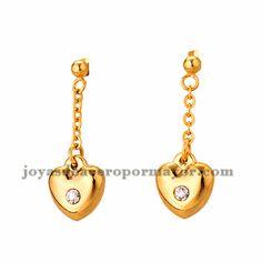 pendientes de corazon brillo en acero dorado inoxidable -SSEGG384228