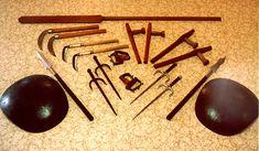 okinawa kobudo weapons: Tonfa, Sai, Kama, Eku, Tekko, Tinbe Roshin