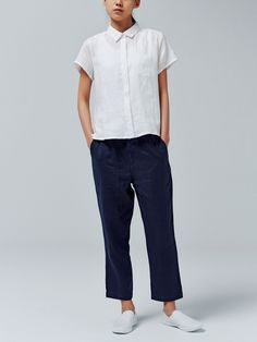 French linen short sleeve shirt, French linen cropped easy pants, slip-on sneakers; all from Muji.