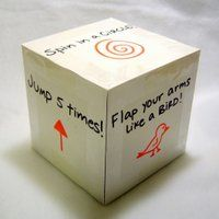 Exercise Cube- add lots of fun exercises- jump, spin, hop, jumping jacks, bend knees.  Take turns spinning but everyone moves.