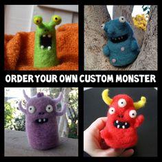 Custom Needle-Felted Monster. $10.00, via Etsy.