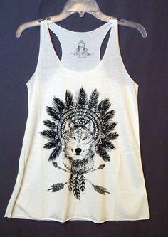 COWGIRL gYPSY WOLF Native AZTEC Feathers Headdress Tank Top Shirt Western SMALL #BEARDANCE #TANK