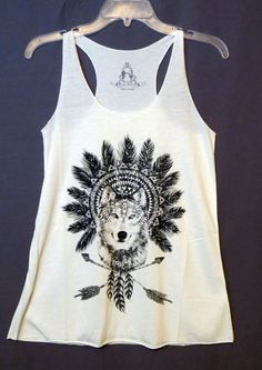 COWGIRL gYPSY WOLF Native AZTEC Feathers Headdress Tank Top Shirt Western SMALL #BEARDANCE #TANK