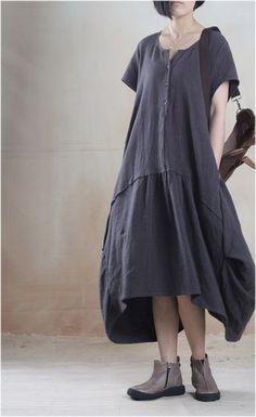 Linen Dress in Dark Gray